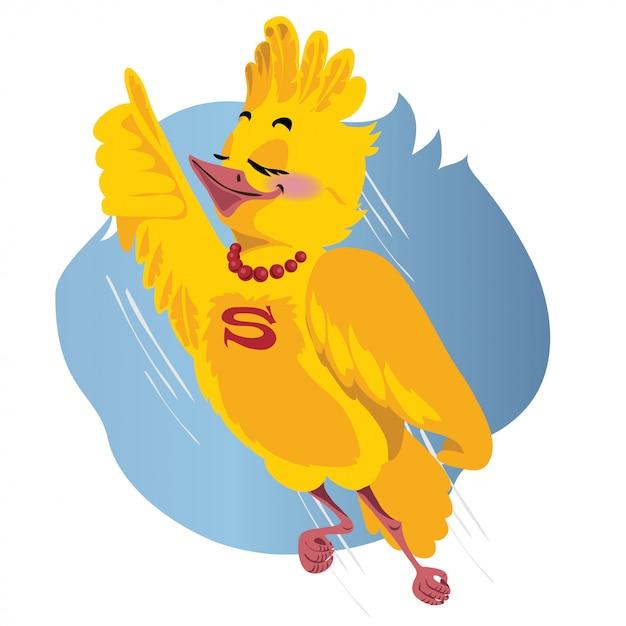 L'oiseau superman vole. illustration vectorielle Vecteur Premium