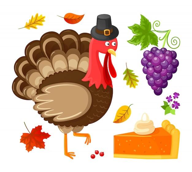 Oiseau thanksgiving day isolé des raisins Vecteur Premium