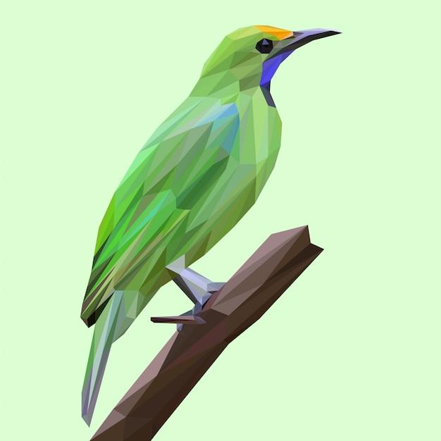 Oiseau vert tropical avec style lowpoly Vecteur Premium