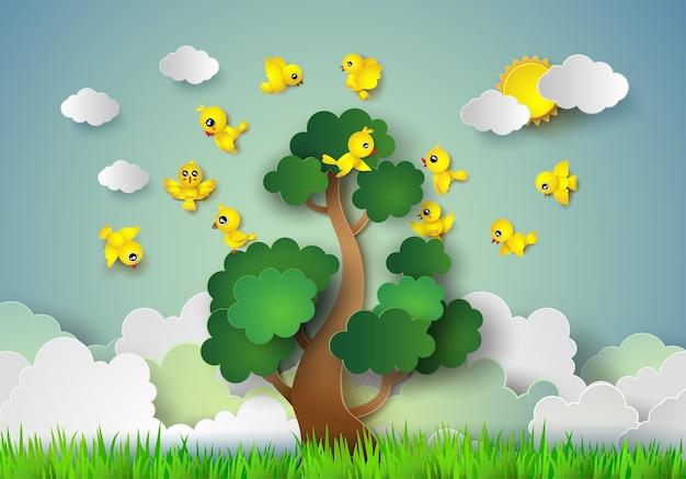 Oiseau volant autour d'un arbre. Vecteur Premium