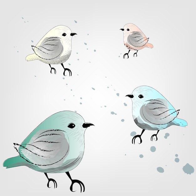 Oiseaux à l'aquarelle Vecteur Premium