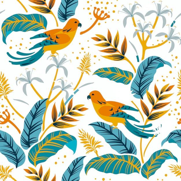 Oiseaux dans le motif nature Vecteur gratuit