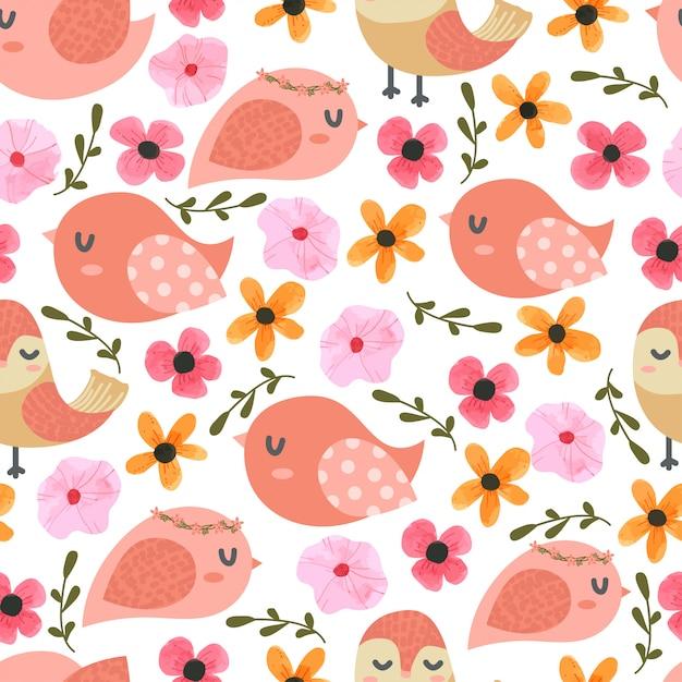 Oiseaux et fleurs cartoon seamless pattern Vecteur Premium