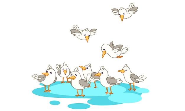 Oiseaux en groupe sur la mer Vecteur Premium