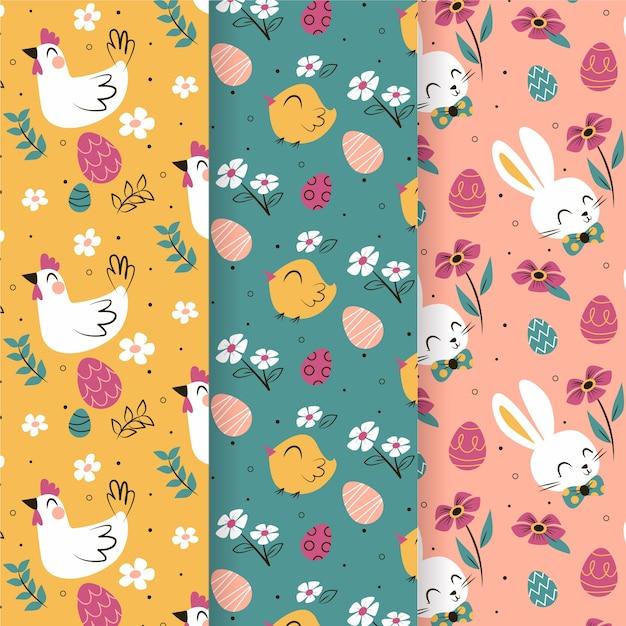 Oiseaux Et Lapins Collection De Modèle Sans Couture De Joyeuses Pâques Vecteur gratuit