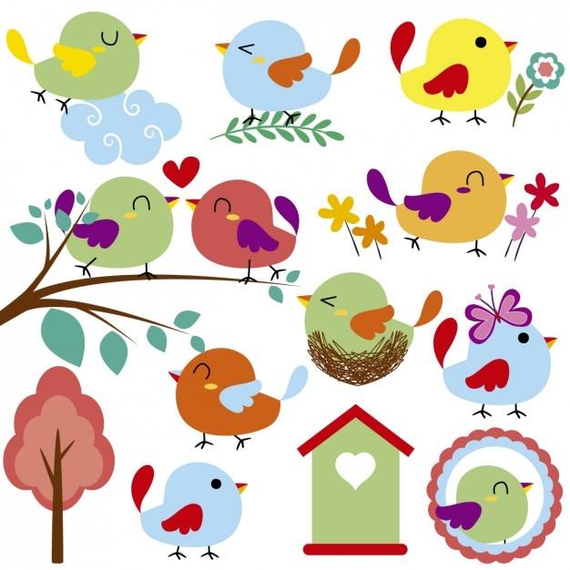 Oiseaux Mignons Et Gaité Vecteur gratuit