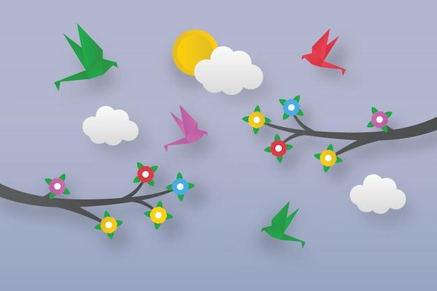 Oiseaux En Origami Sur Des Branches Fleuries Vecteur Premium
