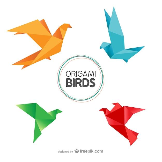 Oiseaux D'origami Emballer Vecteur Premium