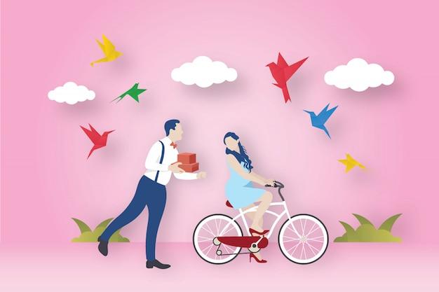 Oiseaux En Origami Et Thème De L'amour Vecteur Premium
