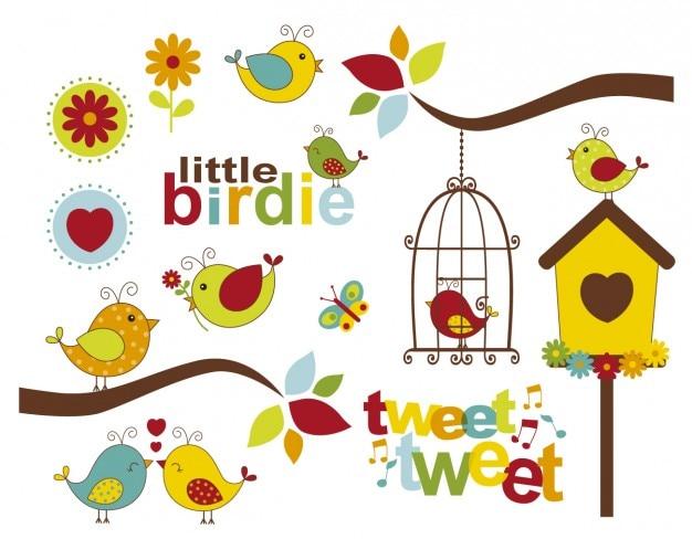 Oiseaux partout Vecteur gratuit