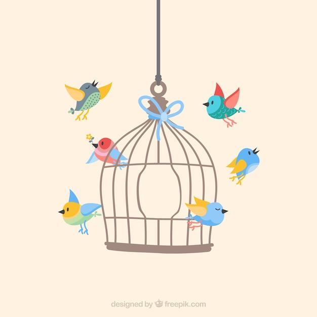 Oiseaux Qui Volent De Cage Vecteur gratuit