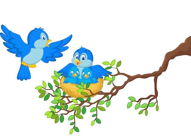 Oiseaux avec ses deux bébés dans le nid Vecteur Premium