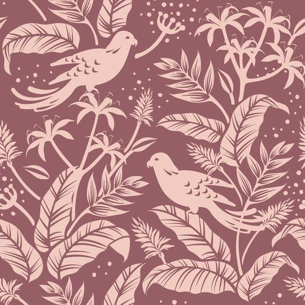 Oiseaux en vecteur de fond à motifs sans soudure nature Vecteur gratuit