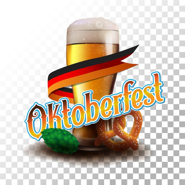 Oktoberfest affiche vector illustration transparente Vecteur Premium