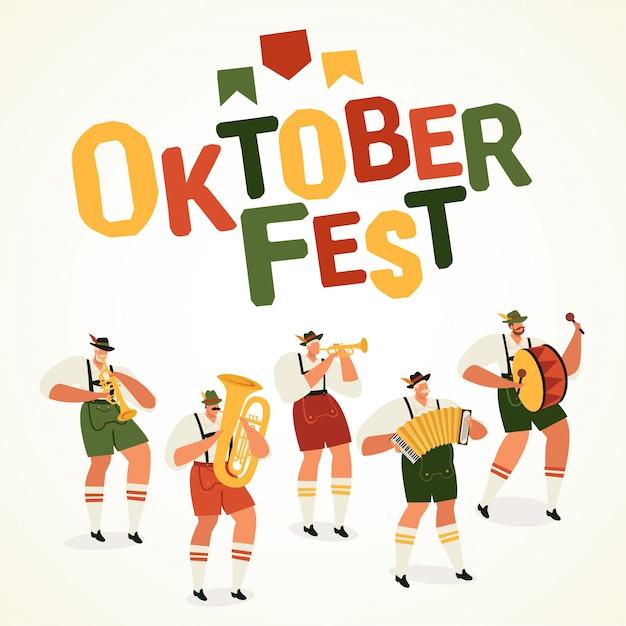 Oktoberfest, bannière du carré des plus grands musiciens du festival de la bière au monde Vecteur Premium