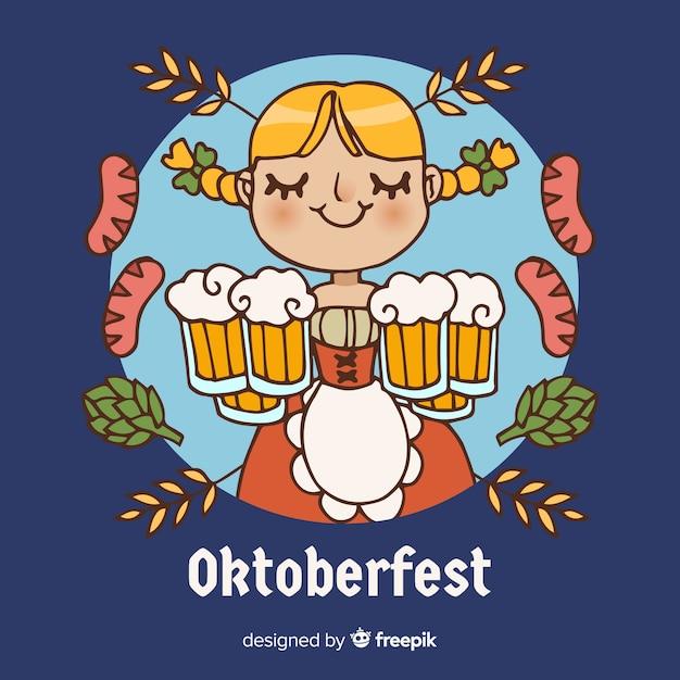 Oktoberfest décoratif fond dessiné conception Vecteur gratuit