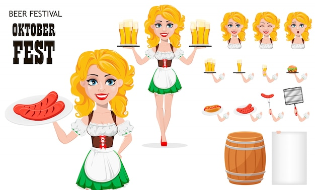 Oktoberfest, fête de la bière. fille rousse Vecteur Premium