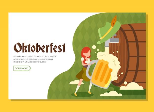 Oktoberfest landing page avec une fille tenant un grand verre de bière Vecteur Premium