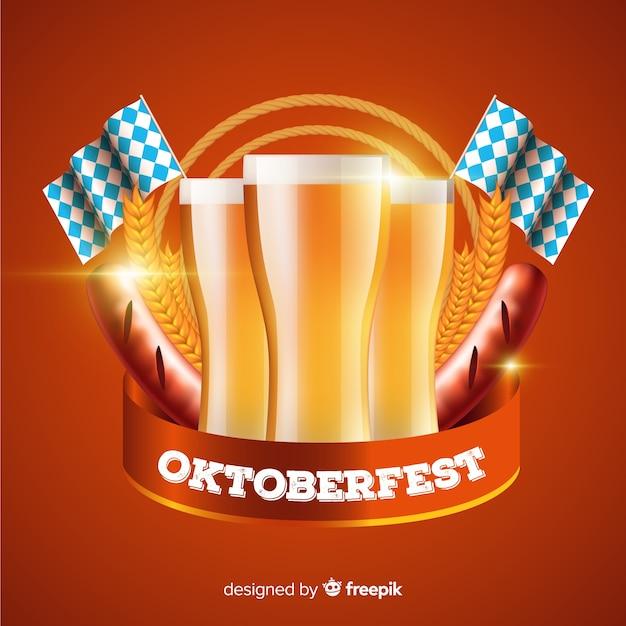 Oktoberfest réaliste avec fond de bière Vecteur gratuit