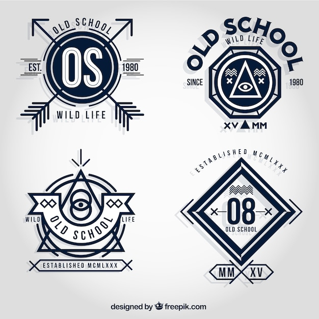 Old badges scolaires Vecteur gratuit