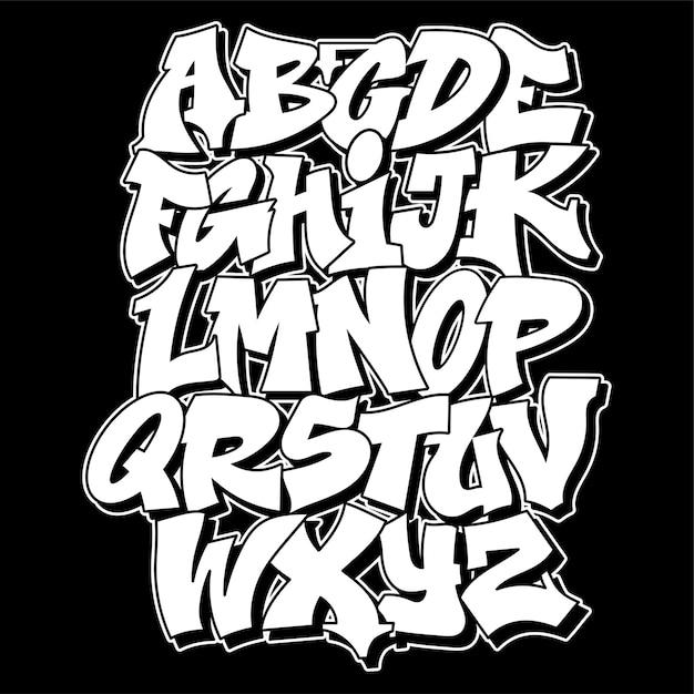 Old School Graffiti Alphabet Lettrage Décoratif Vandale Street Art Style Sauvage Gratuit Sur Le Mur Ville Action Illégale Urbaine En Utilisant De La Peinture En Aérosol. Illustration De Type Hip Hop Souterrain. Vecteur Premium