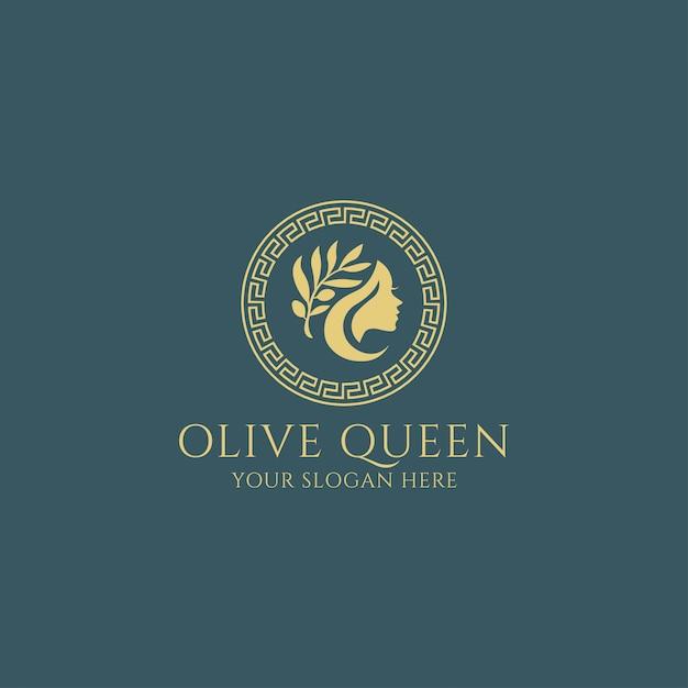 Olive queen goddess premium logo Vecteur Premium