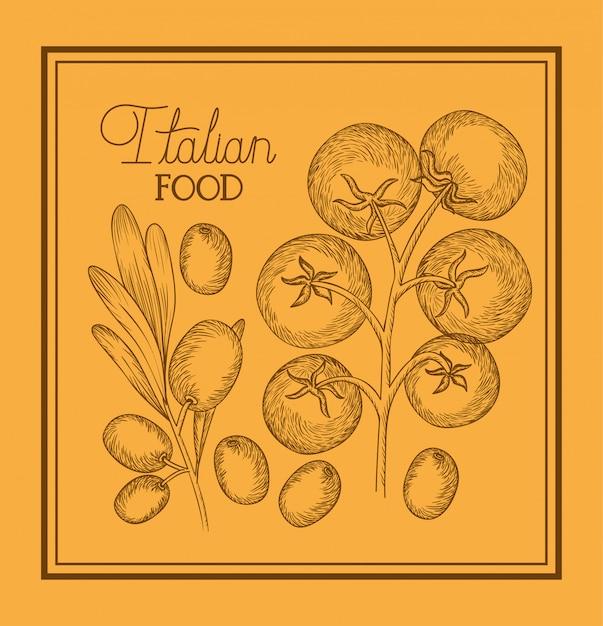 Olive et tomates plantent des plats italiens dessinés Vecteur Premium