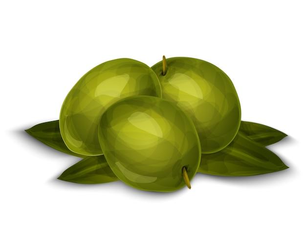 Olives isolées sur blanc Vecteur gratuit