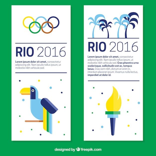 Olympiques modernes bannières de jeux en design plat Vecteur gratuit