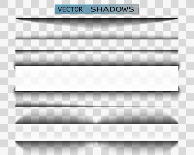 Ombre. Illustration Réaliste D'ombre Transparente. Séparateur De Page Avec Ombre Transparente. Jeu De Pages. Vecteur Premium