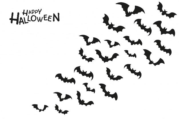 L'ombre Sombre D'un Groupe De Chauves-souris Fantômes Volant Pour Sucer Le Sang La Nuit D'halloween. Vecteur Premium