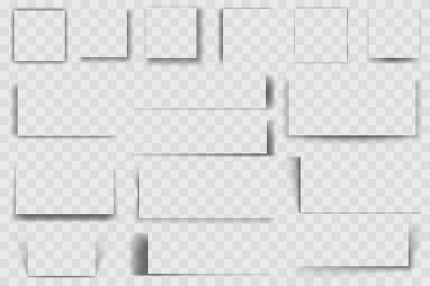 Ombres Carrées Réalistes. Ombre Portée Carrée, Nuances Transparentes à Bords Doux, Jeu D'illustrations D'ombres Quadrate Sombres Effet D'ombre Carrée, Collection Transparente Réaliste Rectangle Vecteur Premium
