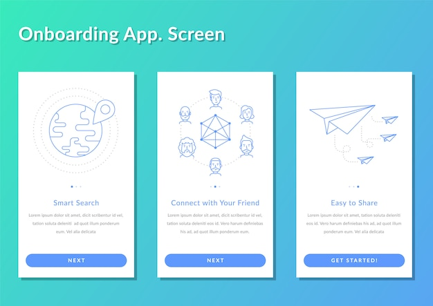 Onboarding screen walkthrough app enregistrer illustration vectorielle splashscreen Vecteur Premium