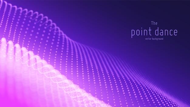 Onde Abstraite De Particules Violettes, Tableau De Points, Faible Profondeur De Champ. Fond Numérique De Technologie Vecteur gratuit