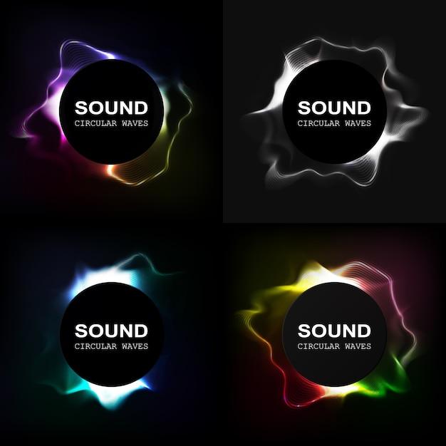 Onde Sonore. égaliseur Radial. Volume Dynamique Vecteur Premium