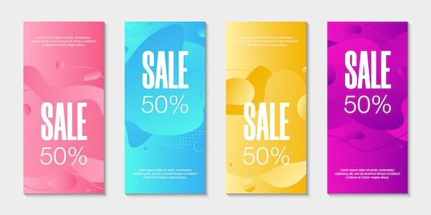 Ondes Dynamiques Différentes Formes Fluides Colorées Vecteur Premium