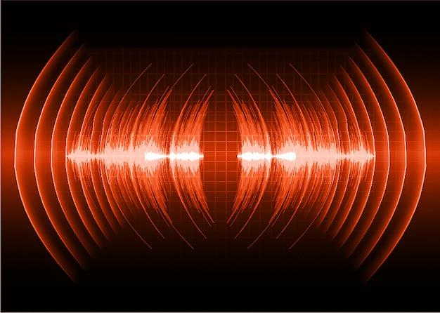Ondes sonores oscillant lumière rouge foncé Vecteur Premium