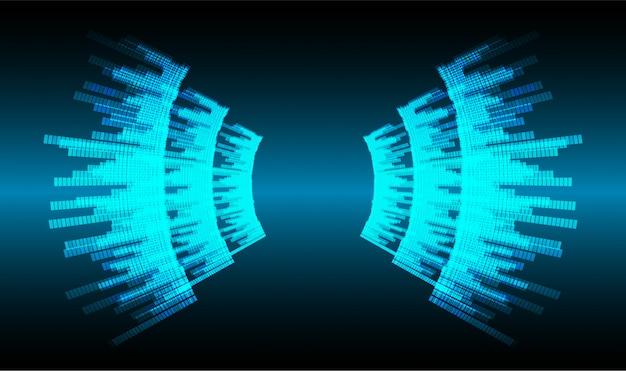 Ondes sonores oscillantes lumière bleu foncé Vecteur Premium