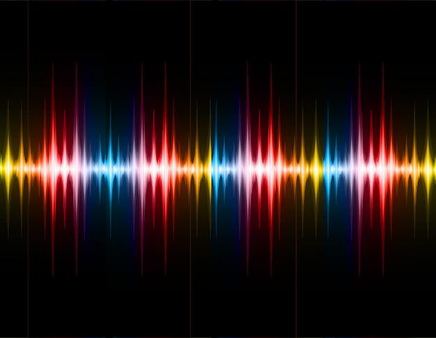 Ondes sonores oscillantes lumière bleu jaune rouge foncé Vecteur Premium