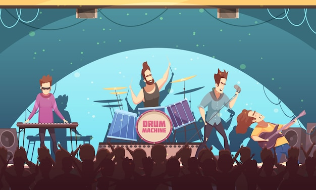 Open air festival rockband musique live sur scène bannière de bande dessinée rétro avec des instruments électroniques et public Vecteur gratuit