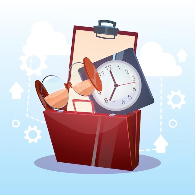 Open briefcase concept de temps limite pour le suivi des activités commerciales Vecteur Premium