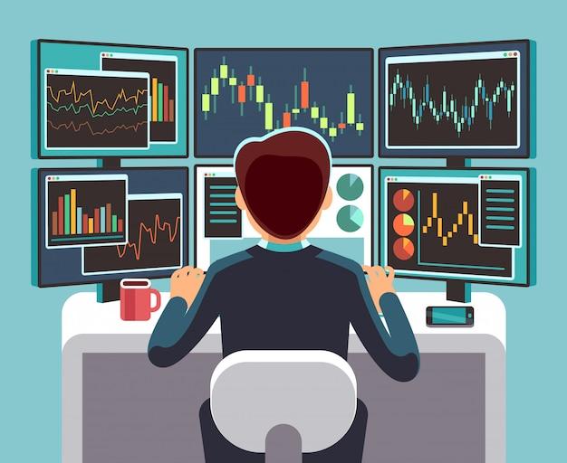 Opérateur Boursier Examinant Plusieurs écrans D'ordinateur Avec Des Graphiques Financiers Et Des Graphiques Boursiers. Vecteur Premium