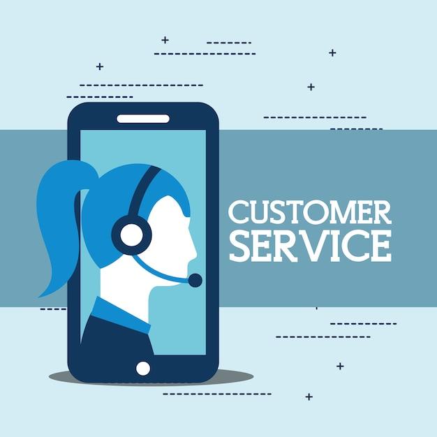 Opérateur femme smartphone avec casque service à la clientèle Vecteur Premium