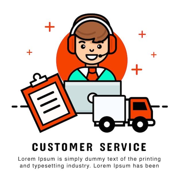 Opérateur en ligne avec service de commande et de livraison. modèle de bannière moderne Vecteur Premium