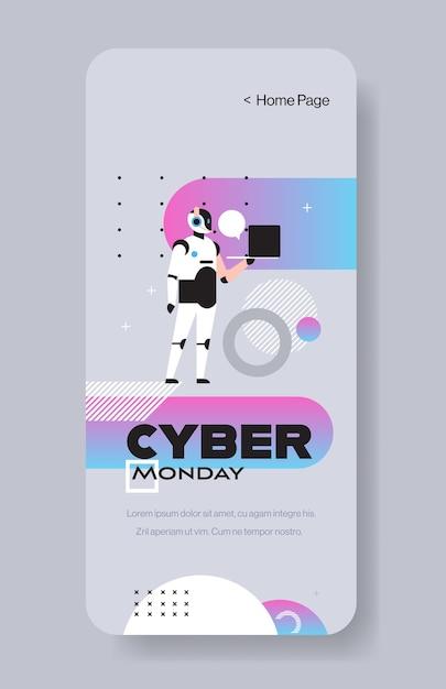 Opérateur De Robot Tenant Un Ordinateur Portable Cyber Lundi Grande Vente Offre Spéciale Vacances Shopping Discount Vecteur Premium