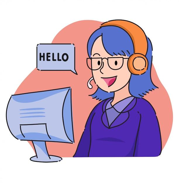 Opérateur de service clientèle féminine avec casque et dire bonjour Vecteur Premium