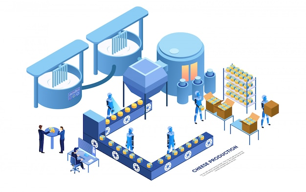 Opérateur D'usine Et Robots Intelligents Produisant Du Fromage Vecteur Premium