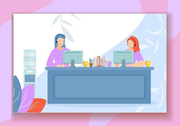 Les opérateurs de casques travaillent au bureau du centre d'appels Vecteur Premium