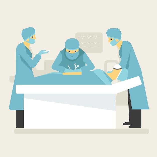Opération chirurgicale de médecins dans l'illustration de salle blanche. Vecteur Premium