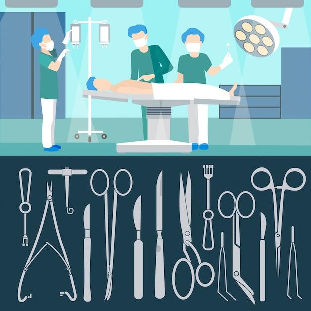 Opération Chirurgicale. Personnel De Medicall. Chambre D'hôpital. Opération Chirurgicale. Assurance Médicale. Outils De Chirurgie. Instruments Chirurgicaux. Illustration Vectorielle Vecteur Premium